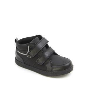 Zapatilla 2 Velcros Escolar Junior Niño Negro 8 a 12 años