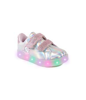 Zapatilla Con Luces Power Light Kids Niña Plateado 2 a 6 años