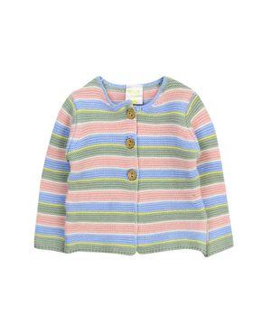 Sweater Tejido Rayas Con Botones De Madera Back To Natural New Born Niña Celeste Recién Nacido a 6 Meses