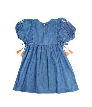Vestido Bordado Kenia Kids Niña Azul 2 a 6 años